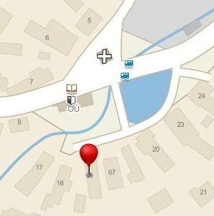 Zmenšená mapa Ježov s odkazem na provozovnu BlahaSoft