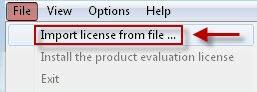 ruční nahrání souboru s licencí do programu Thinstuff XP/VS Administrator