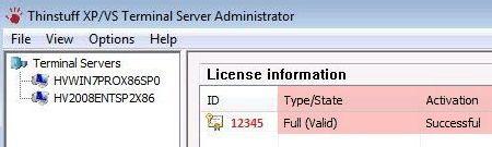 seznam aktivovaných licencí v programu Thinstuff XP/VS Administrator